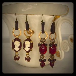 Cameo Red Earrings